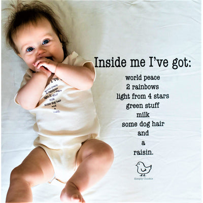 Organic cotton Inside me poem baby onesie + hatched baby hat + Inside me poem baby blanket