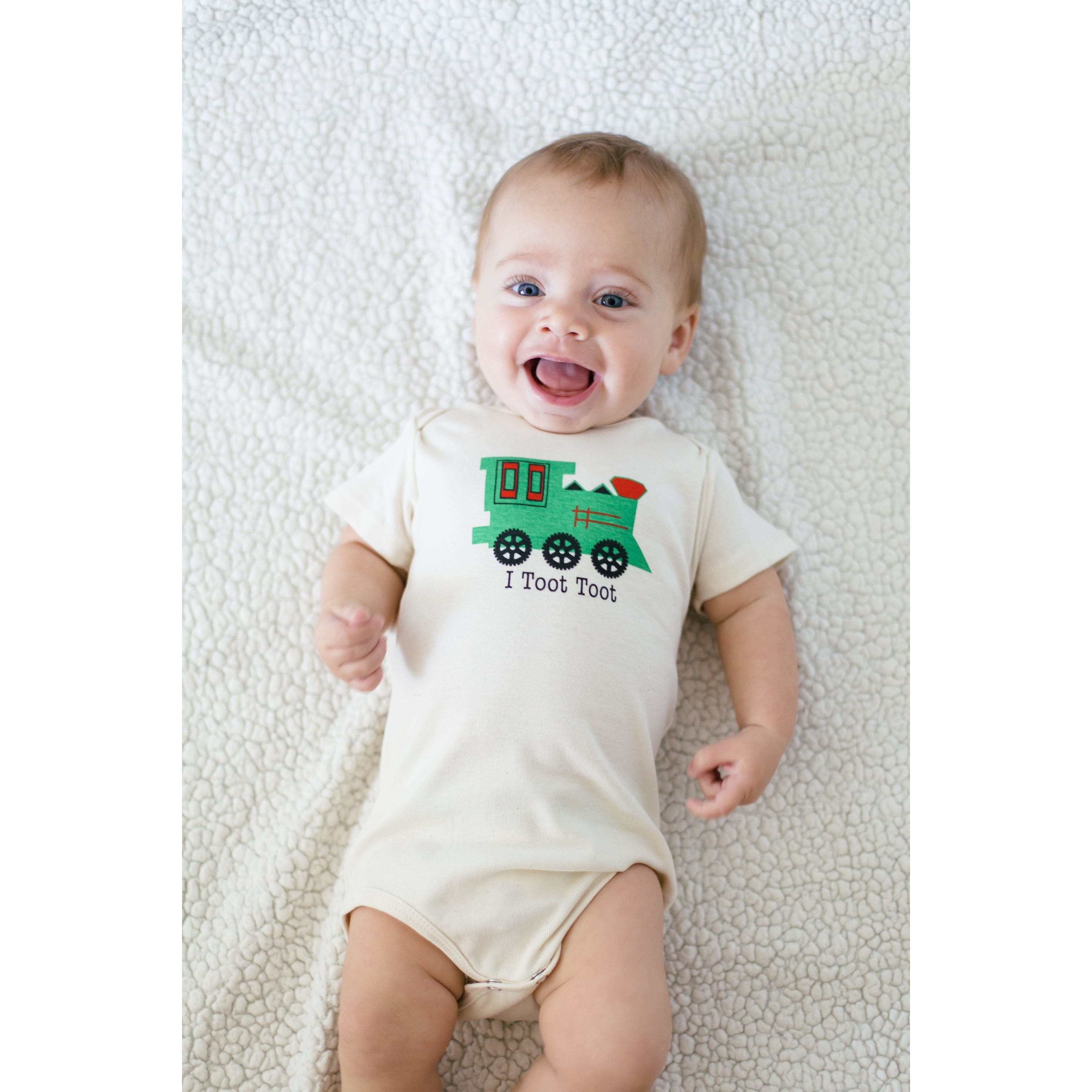 Organic cotton baby onesie - Train - LONG SLEEVE AVAILABLE - Simply Chickie