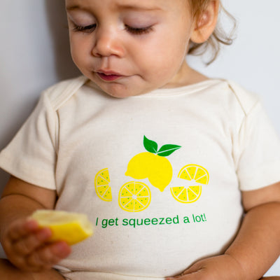 Organic cotton baby onesie - Lemon LONG SLEEVE available
