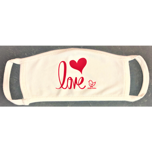 "Mask. Organic Cotton Child. ""Love"" Unisex design (Non-medical) - Simply Chickie"