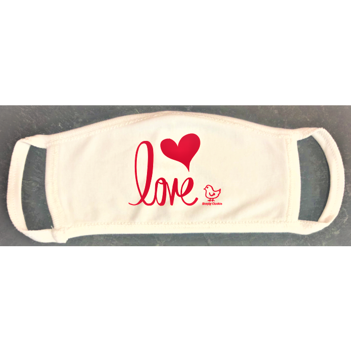 "Adult organic cotton mask. ""Love"" Unisex design (Non-medical)"