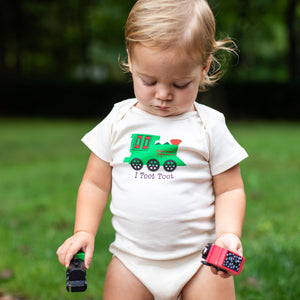 Organic cotton baby onesie - Train - LONG SLEEVE AVAILABLE