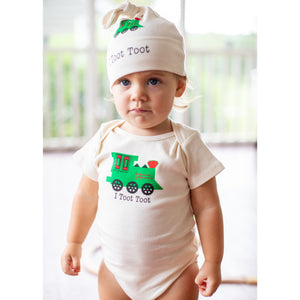 Gift set train romper and hat