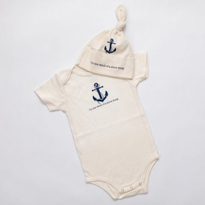 Organic cotton baby romper + baby hat + baby blanket - Nautical