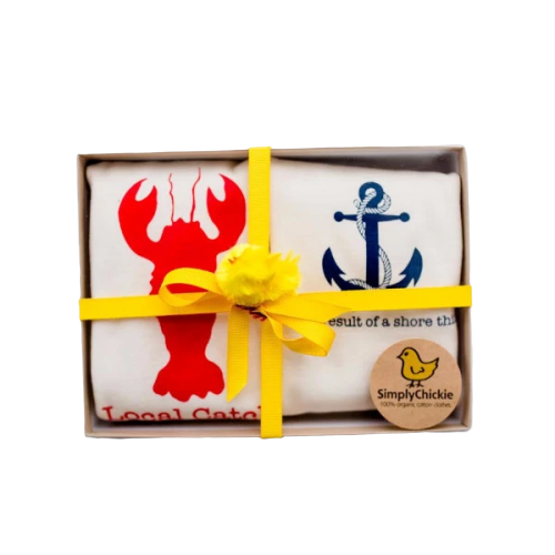 Organic cotton baby gift set - Nautical LONG SLEEVE - Simply Chickie