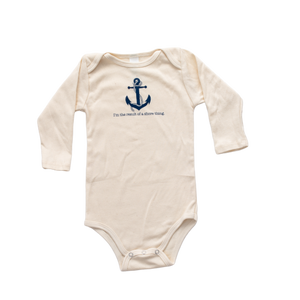 Organic cotton baby romper -  Nautical - LONG SLEEVE - Simply Chickie