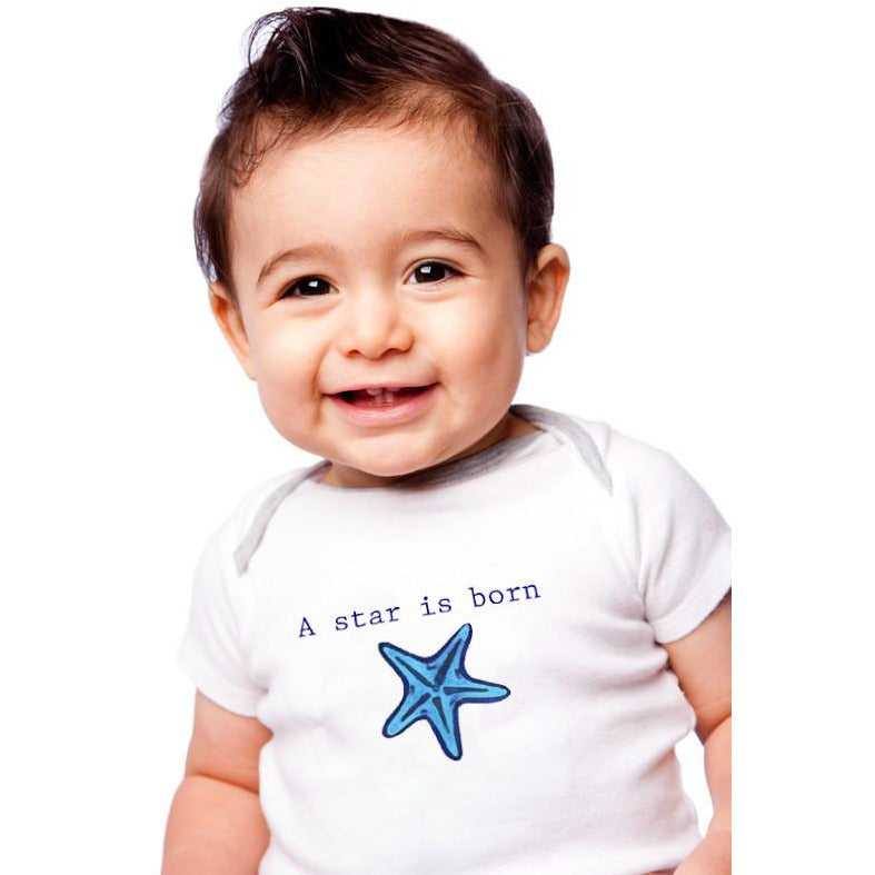 Organic cotton baby onesie - Starfish - LONG SLEEVE AVAILABLE - Simply Chickie
