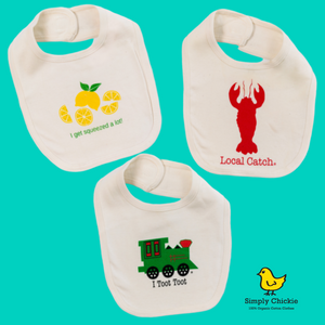 Organic cotton baby bibs gift set - Lemon, Train, Lobster - Simply Chickie
