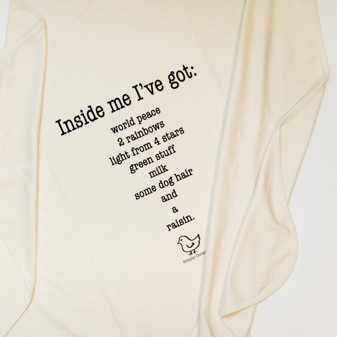 Organic Cotton Baby Blanket - Inside me poem - Simply Chickie