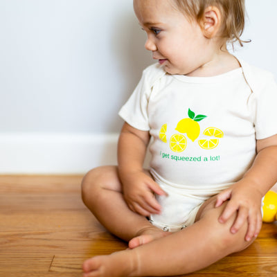 Organic cotton baby onesie - Lemon
