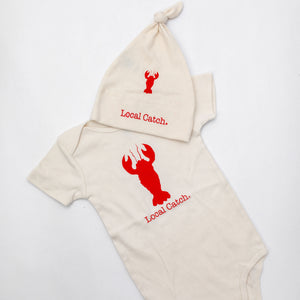 Organic cotton baby romper + baby hat + baby blanket - Lobster - Simply Chickie