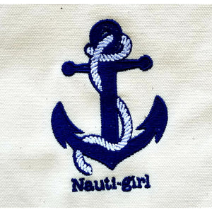 Nauti-Girl Tote Bag - Navy Blue - Design Close Up