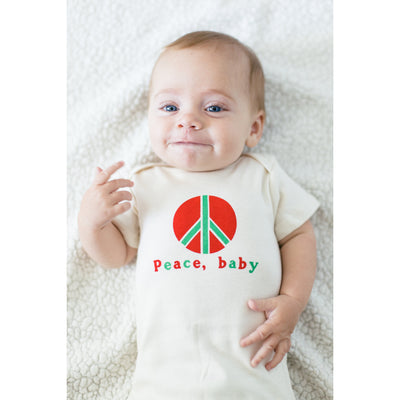 Organic cotton baby onesie - Peace - LONG SLEEVE AVAILABLE