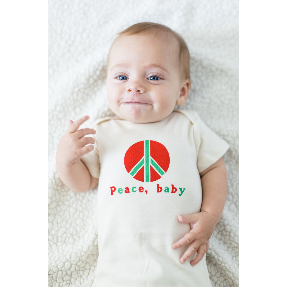 Organic cotton baby onesie - Peace - LONG SLEEVE AVAILABLE - Simply Chickie