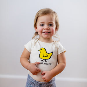 Organic cotton baby onesie - Yellow Chick