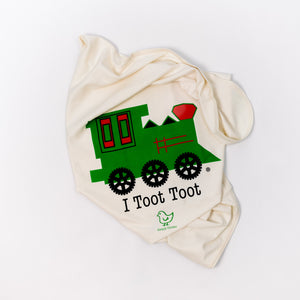 Organic cotton baby blanket - Train - Simply Chickie