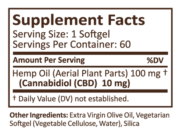 Plus CBD Hemp Extract Soft Gels -  10 mg