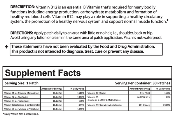 B12 Plus Vitamin Patch