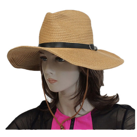 Cow boy hat brown with black bow front view
