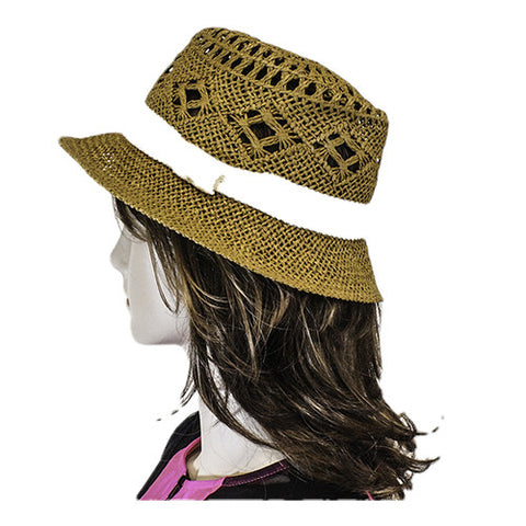 Brown fedora with white hat band side view