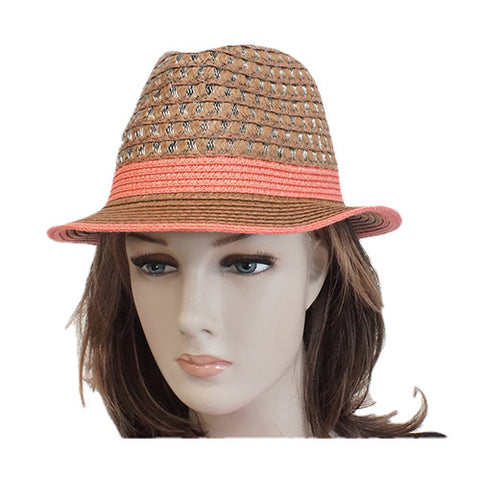 Red touch brown fedora hat for woman