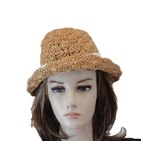Brown straw fedora side