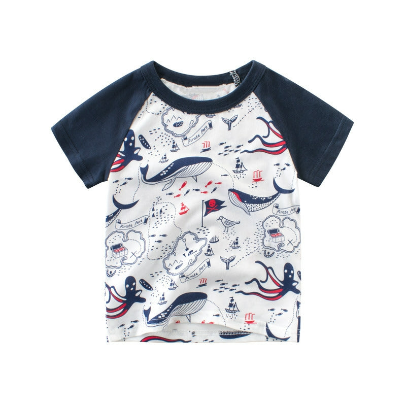 Whale Adventure Crew-Neck Short Sleeve Toddler T-Shirt