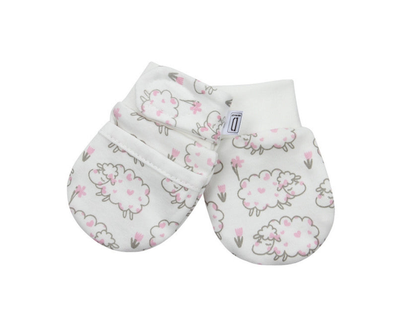 NEWBORN ANTI-SCRATCH SOFT STAY ON MITTENS FOR BABIES (0-6 MONTHS) 1 PAIR