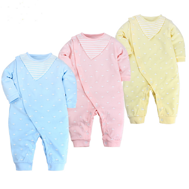 assorted baby bib romper in blue, pink and yellow