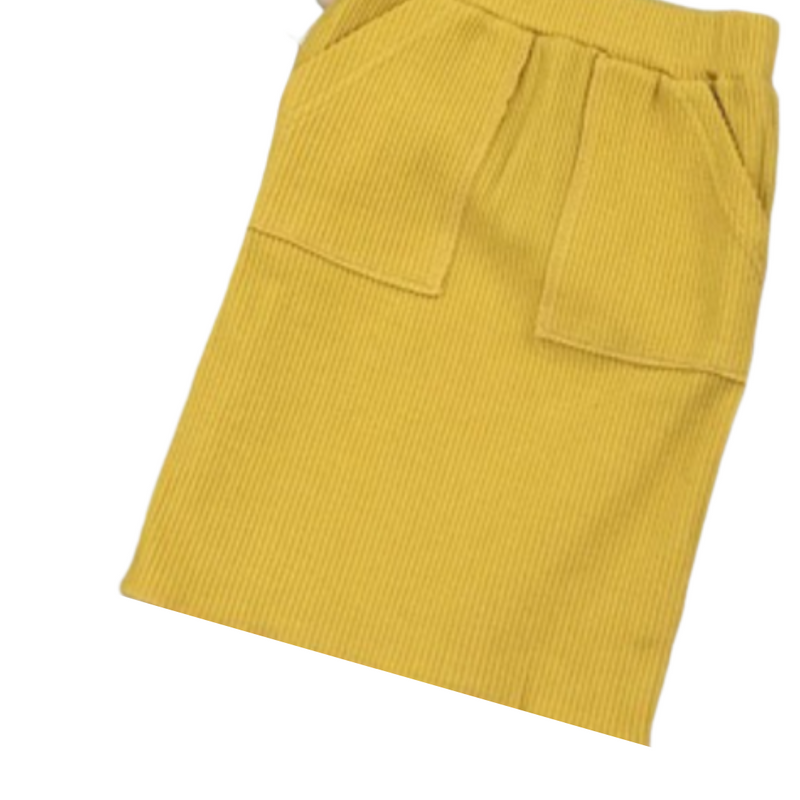 yellow jersey knitted toddler skirt