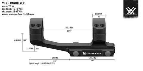 Vortex Viper (Pro) Cantilever Extended One Piece Scope Mount / Rings - Australian Tactical Precision