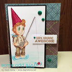 Gnome Fishing Digi Stamp