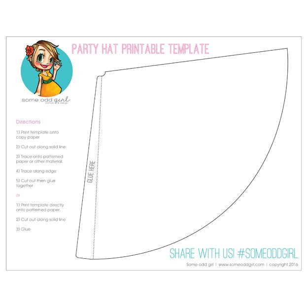 photograph relating to Party Hat Templates Printable referred to as Get together Hat Template SomeOddGirl