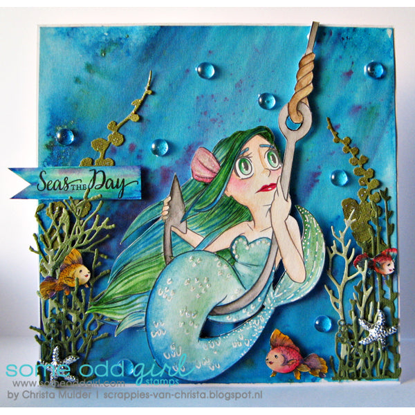 Caught Mermaid Digi Stamp