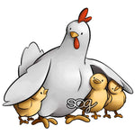 Momma Chicken and Chicks Digi Stamp
