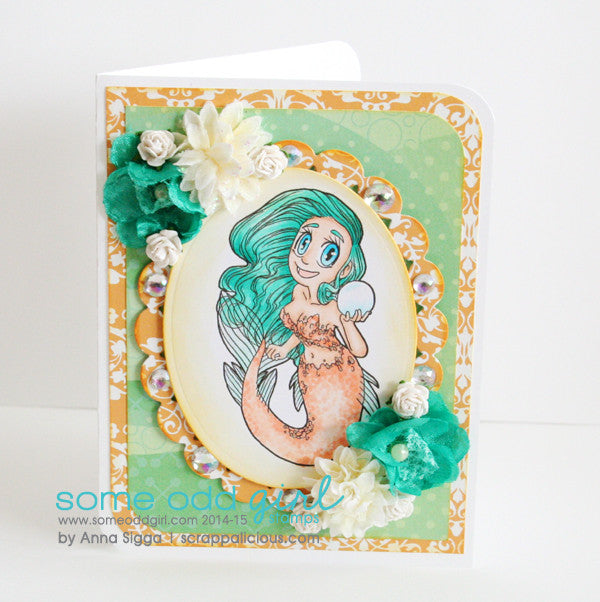 Pearl Mermaid Digi Stamp, SomeOddGirl - 7