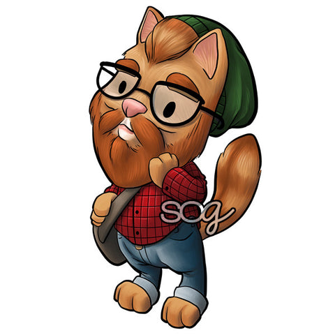 Bearded Hipster Cat Digi Stamp, SomeOddGirl