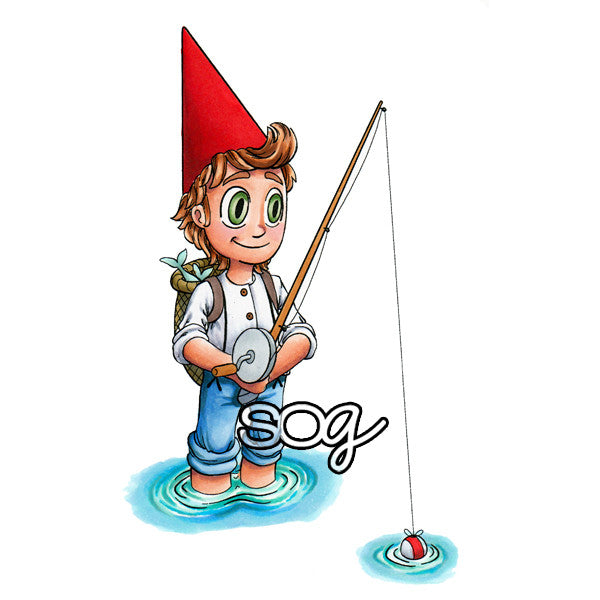 Gnome Fishing Digi Stamp, SomeOddGirl