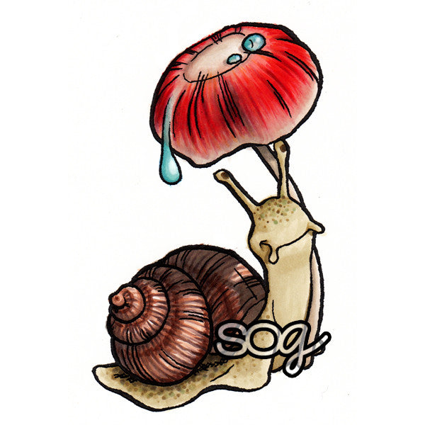 Umbrella Snail Digi Stamp, SomeOddGirl - 1