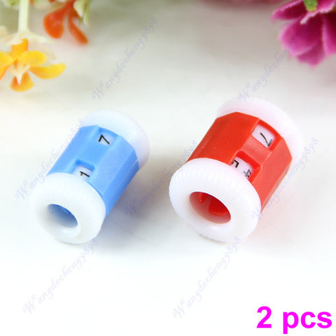 F85  2 pcs 2 Sizes New Plastic Knit Knitting Needles Pride Row Counter
