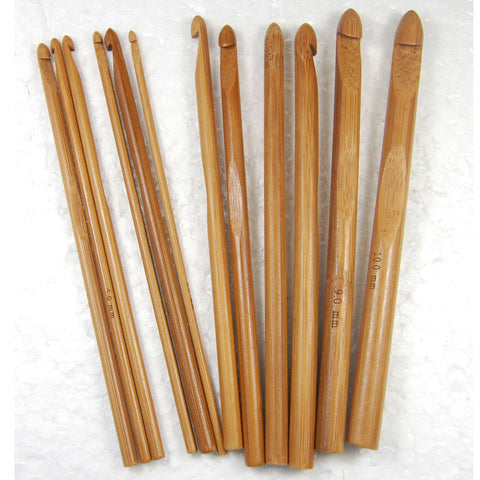 Free Shipping 12-Size 3mm-10mm Knit Weave Yarn Craft Knitting Needle Bamboo Handle Crochet Hooks Sewing Needles
