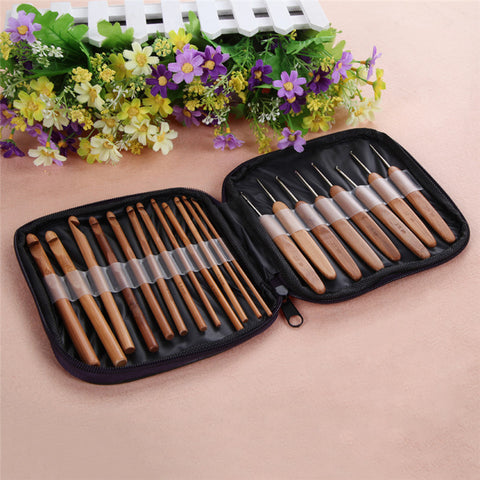 LS4G 20pcs Bamboo Crochet Hooks Knitting Weave Needles Set with Case Free Shipping