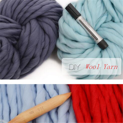 500g 2skeins+20MM Bamboo 1Needle Free  Super Thick Yarn For knitting High Grade Thick big Yarn For Hand Knitting Wool Yarn LC007
