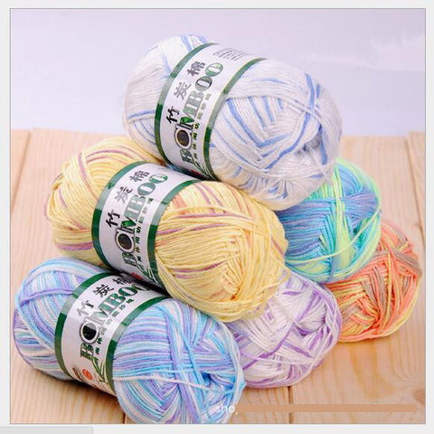 500g=10Pcs Soft Smooth Natural Bamboo Cotton Hand Knitting Yarn Baby Cotton Yarn Knitted
