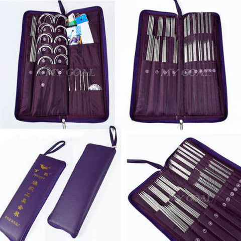 104pcs Stainless Steel Straight Circular Knitting Needles Crochet Hook Weave Set