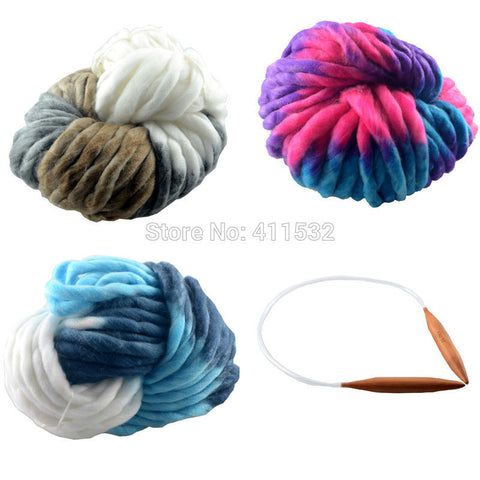 1000g yarn + 1pc neddle crochet yarn Super Thickness Merino Wool Felt Wool Roving Yarn Spinning Hand Knitting Spin Warm Y70298
