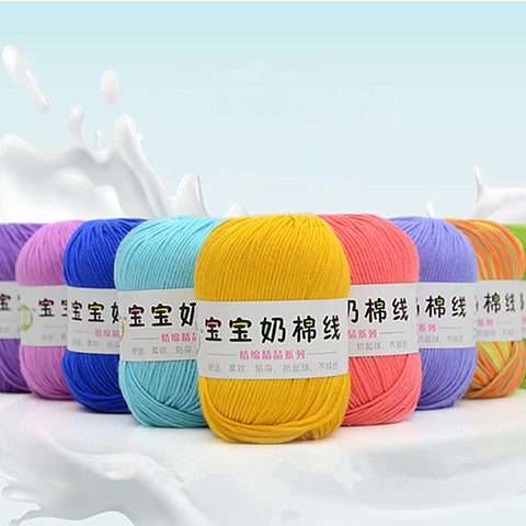 Wholesale 10 Balls 500g/lot Soft Silk Fiber Cashmere Wool Yarns for Kids Eco-friendly Dyed Baby Milk Cotton Yarn for Knitting