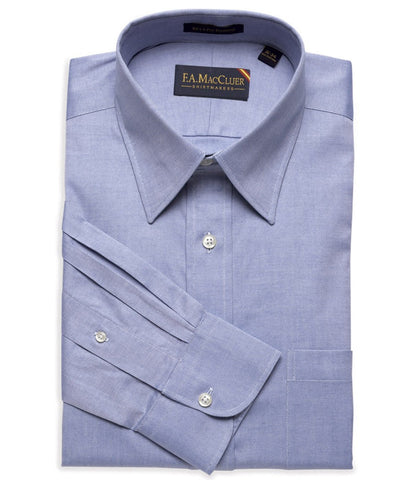 Blue Classic Pinpoint Solid Big & Tall Point Collar