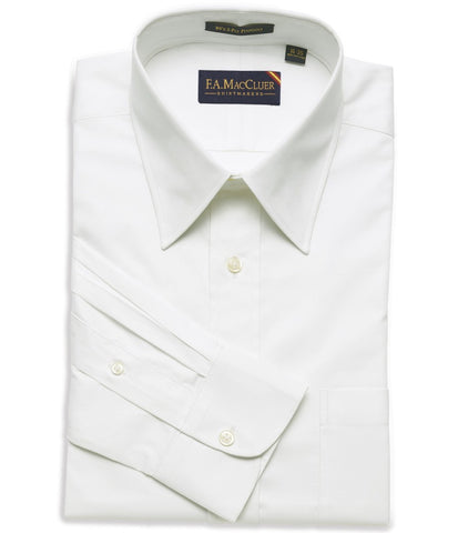 White Classic Pinpoint Solid Big & Tall Point Collar