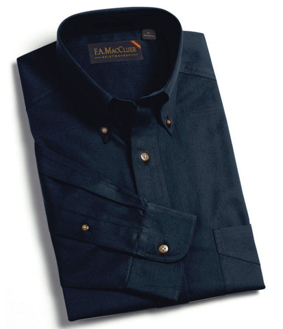 Navy Refined Sanded Twill Solid Buttondown